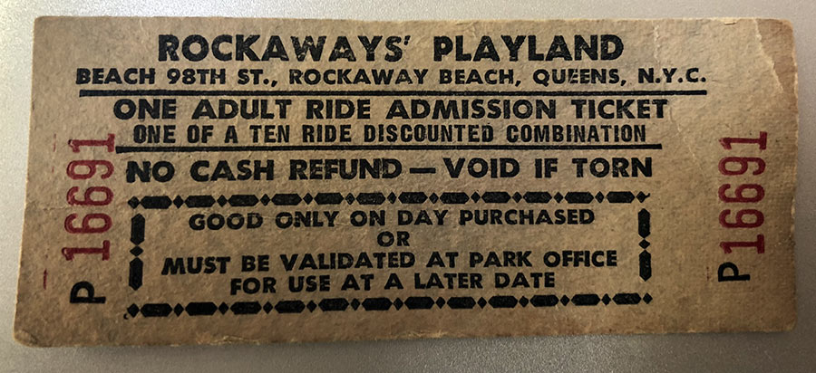 Rockaway Playland amusement park ticket